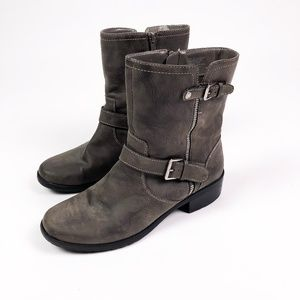 Gray Vegan Leather Buckle Moto Boots